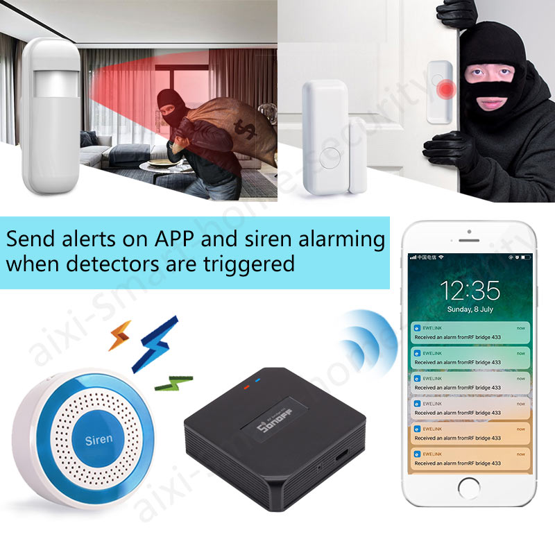Smart Wi-Fi 433Mhz Indoor Siren Security Alarm System Sonoff RF